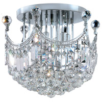 Elegant Lighting Corona 6 Light Flush Mount in Chrome with Elegant Cut Clear Crystal 8949F16C/EC