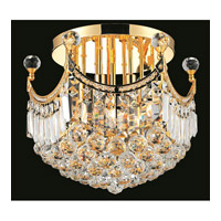 Elegant Lighting Corona 6 Light Flush Mount in Gold with Swarovski Strass Clear Crystal 8949F16G/SS alternative photo thumbnail