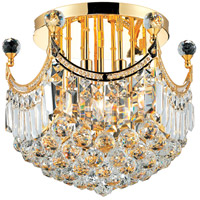 Elegant Lighting Corona 6 Light Flush Mount in Gold with Swarovski Strass Clear Crystal 8949F16G/SS