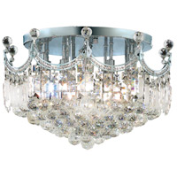 Elegant Lighting Corona 9 Light Flush Mount in Chrome with Swarovski Strass Clear Crystal 8949F20C/SS