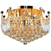Elegant Lighting Corona 9 Light Flush Mount in Gold with Swarovski Strass Clear Crystal 8949F20G/SS