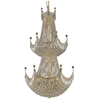 Elegant Lighting Corona 36 Light Foyer in Gold with Elegant Cut Clear Crystal 8949G36G/EC