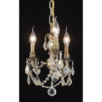 Elegant Lighting Lillie 3 Light Pendant in Antique Bronze with Swarovski Strass Golden Shadow Crystal 9103D10AB-GS/SS