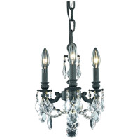 Elegant Lighting Lillie 3 Light Pendant in Dark Bronze with Royal Cut Clear Crystal 9103D10DB/RC