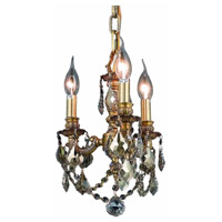 Elegant Lighting Lillie 3 Light Pendant in French Gold with Royal Cut Golden Teak Crystal 9103D10FG-GT/RC