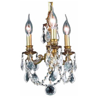 Lillie 3 Light 10 inch French Gold Pendant Ceiling Light in Clear, Royal Cut