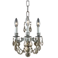 Elegant Lighting Lillie 3 Light Pendant in Pewter with Swarovski Strass Golden Teak Crystal 9103D10PW-GT/SS