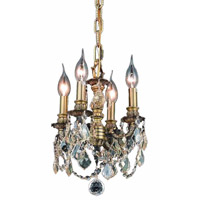 Elegant Lighting Lillie 4 Light Pendant in Antique Bronze with Royal Cut Golden Shadow Crystal 9104D10AB-GS/RC
