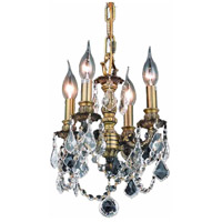 Elegant Lighting Lillie 4 Light Pendant in Antique Bronze with Royal Cut Clear Crystal 9104D10AB/RC