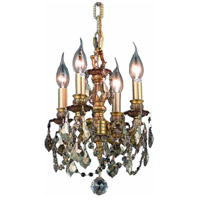 Elegant Lighting Lillie 4 Light Pendant in French Gold with Royal Cut Golden Teak Crystal 9104D10FG-GT/RC