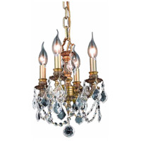 Elegant Lighting Lillie 4 Light Pendant in French Gold with Royal Cut Clear Crystal 9104D10FG/RC
