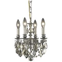 Elegant Lighting Lillie 4 Light Pendant in Pewter with Royal Cut Golden Teak Crystal 9104D10PW-GT/RC
