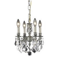 Elegant Lighting Lillie 4 Light Pendant in Pewter with Royal Cut Clear Crystal 9104D10PW/RC