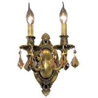 Elegant Lighting Rosalia 2 Light Wall Sconce in Antique Bronze with Royal Cut Golden Teak Crystal 9202W9AB-GT/RC