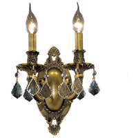 Elegant Lighting Rosalia 2 Light Wall Sconce in Antique Bronze with Elegant Cut Clear Crystal 9202W9AB/EC