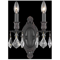 Elegant Lighting Rosalia 2 Light Wall Sconce in Dark Bronze with Elegant Cut Clear Crystal 9202W9DB/EC