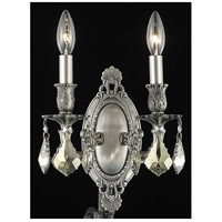 Elegant Lighting Rosalia 2 Light Wall Sconce in Pewter with Royal Cut Golden Teak Crystal 9202W9PW-GT/RC