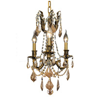 Elegant Lighting Rosalia 3 Light Pendant in Antique Bronze with Royal Cut Golden Teak Crystal 9203D13AB-GT/RC