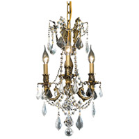 Elegant Lighting Rosalia 3 Light Pendant in Antique Bronze with Royal Cut Clear Crystal 9203D13AB/RC