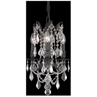 Elegant Lighting Rosalia 3 Light Pendant in Dark Bronze with Elegant Cut Clear Crystal 9203D13DB/EC