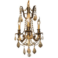Elegant Lighting Rosalia 3 Light Pendant in French Gold with Royal Cut Golden Teak Crystal 9203D13FG-GT/RC
