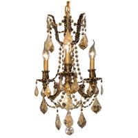 Elegant Lighting 9203D13FG-GT/RC Rosalia 3 Light 13 inch French Gold Pendant Ceiling Light in Golden Teak Royal Cut