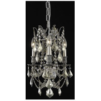 Elegant Lighting Rosalia 3 Light Pendant in Pewter with Swarovski Strass Golden Teak Crystal 9203D13PW-GT/SS