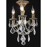 Elegant Lighting Rosalia 3 Light Flush Mount in Antique Bronze with Elegant Cut Clear Crystal 9203F13AB/EC alternative photo thumbnail