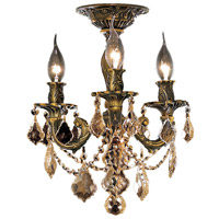 Elegant Lighting Rosalia 3 Light Flush Mount in Antique Bronze with Royal Cut Golden Teak Crystal 9203F13AB-GT/RC