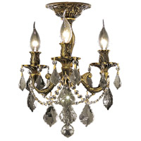 Elegant Lighting Rosalia 3 Light Flush Mount in Antique Bronze with Swarovski Strass Clear Crystal 9203F13AB/SS