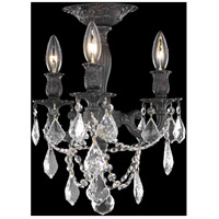 Elegant Lighting Rosalia 3 Light Flush Mount in Dark Bronze with Royal Cut Clear Crystal 9203F13DB/RC