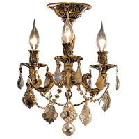 Elegant Lighting Rosalia 3 Light Flush Mount in French Gold with Royal Cut Golden Teak Crystal 9203F13FG-GT/RC