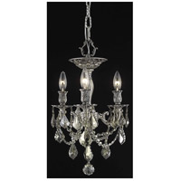 Elegant Lighting Rosalia 3 Light Flush Mount in Pewter with Royal Cut Golden Teak Crystal 9203F13PW-GT/RC