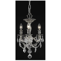 Rosalia 3 Light 13 inch Pewter Flush Mount Ceiling Light in Clear, Royal Cut