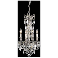 Elegant Lighting Rosalia 4 Light Pendant in Pewter with Royal Cut Clear Crystal 9204D13PW/RC