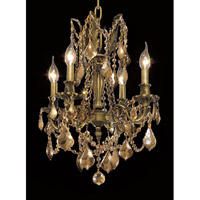 Elegant Lighting Rosalia 4 Light Dining Chandelier in Antique Bronze with Royal Cut Golden Teak Crystal 9204D17AB-GT/RC alternative photo thumbnail