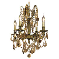 Elegant Lighting Rosalia 4 Light Dining Chandelier in Antique Bronze with Royal Cut Golden Teak Crystal 9204D17AB-GT/RC