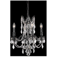 Elegant Lighting Rosalia 4 Light Dining Chandelier in Dark Bronze with Elegant Cut Clear Crystal 9204D17DB/EC