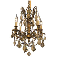 Elegant Lighting Rosalia 4 Light Dining Chandelier in French Gold with Royal Cut Golden Teak Crystal 9204D17FG-GT/RC