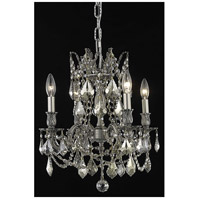 Elegant Lighting Rosalia 4 Light Dining Chandelier in Pewter with Royal Cut Golden Teak Crystal 9204D17PW-GT/RC