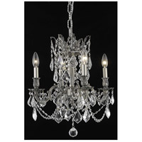Elegant Lighting Rosalia 4 Light Dining Chandelier in Pewter with Elegant Cut Clear Crystal 9204D17PW/EC