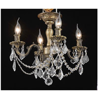 Elegant Lighting Rosalia 4 Light Flush Mount in Antique Bronze with Swarovski Strass Clear Crystal 9204F17AB/SS