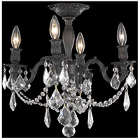 Elegant Lighting Rosalia 4 Light Flush Mount in Dark Bronze with Swarovski Strass Clear Crystal 9204F17DB/SS