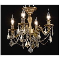 Elegant Lighting Rosalia 4 Light Flush Mount in French Gold with Royal Cut Golden Teak Crystal 9204F17FG-GT/RC