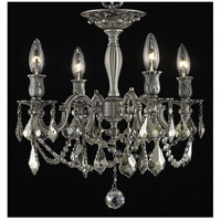 Elegant Lighting Rosalia 4 Light Flush Mount in Pewter with Royal Cut Golden Teak Crystal 9204F17PW-GT/RC