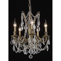 Elegant Lighting Rosalia 5 Light Dining Chandelier in Antique Bronze with Royal Cut Clear Crystal 9205D18AB/RC alternative photo thumbnail