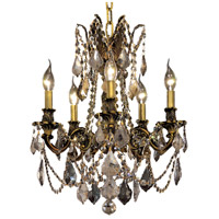 Elegant Lighting Rosalia 5 Light Dining Chandelier in Antique Bronze with Royal Cut Golden Teak Crystal 9205D18AB-GT/RC