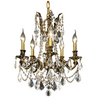 Elegant Lighting Rosalia 5 Light Dining Chandelier in Antique Bronze with Royal Cut Clear Crystal 9205D18AB/RC