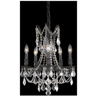 Elegant Lighting Rosalia 5 Light Dining Chandelier in Dark Bronze with Elegant Cut Clear Crystal 9205D18DB/EC