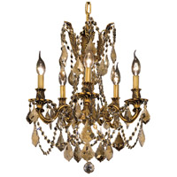 Elegant Lighting Rosalia 5 Light Dining Chandelier in French Gold with Swarovski Strass Golden Teak Crystal 9205D18FG-GT/SS